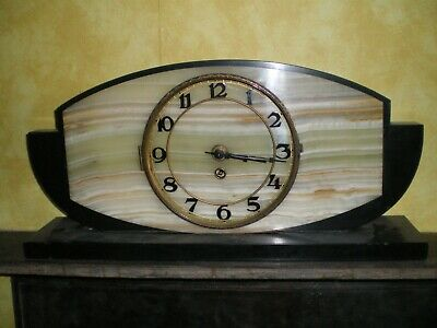 Art Deco Marble and Slate Mantle Clock, needs TLC, with Garnitures.