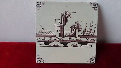 ANTIQUE DELFT or LILLE TILE. Ancien carreau carrelage Manganese . XVIIIème.....D