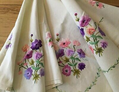 Vintage Hand Embroidered Large Linen Tablecloth ~Gorgeous  Raised Summer Flowers