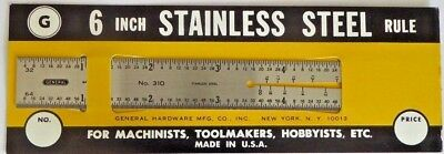 """Vintage General No 310 Machinist 6"""" Stainless Steel Ruler Brand New (2 Rulers)"""