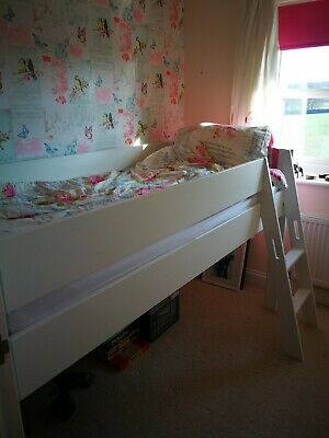 White and pink single cabin bed. Solid painted pine in excellent condition.