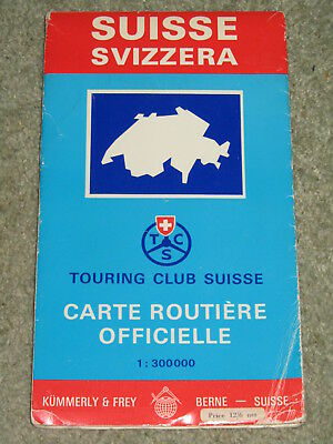 1960's vintage road map of Switzerland by Touring Club of Switzerland