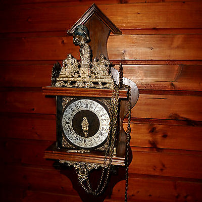 BIG Vintage Wall Clock DUTCH ZAANSE ZAANDAM stoelklok for REPAIR parts missing