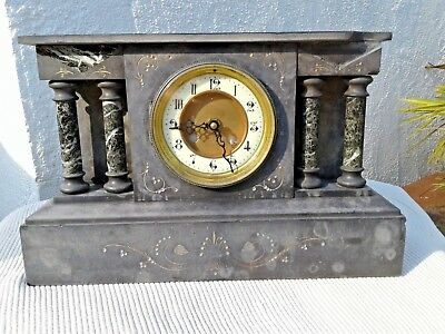 Victorian Slate & Marble Mantle Clock Case ~ Working Order Clock