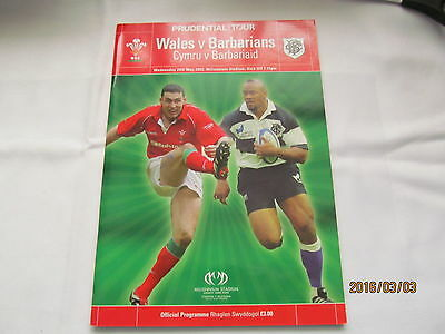 WALES v BARBARIANS 2002 RUGBY PROGRAMME 29 May at CARDIFF