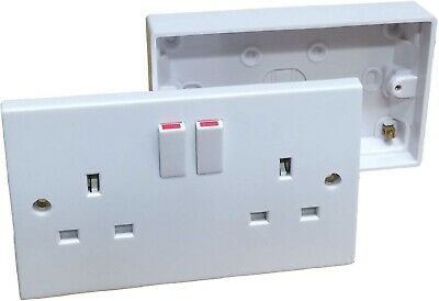 Double Wall Socket & Back Box Pattress. Twin 2 Gang Switched Plug Electrical