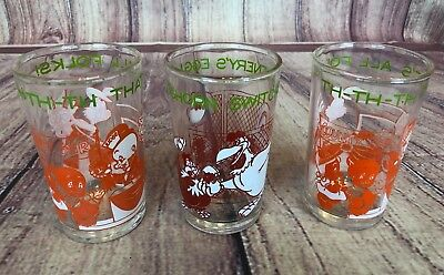 3 Vintage 1974 Welch's Jelly Glass Looney Tunes Bugs Porky Elmer Foghorn Lot G59