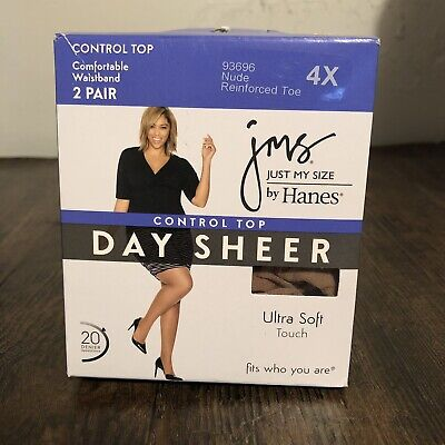 f0f944da5 JMS Just My Size by Hanes Pantyhose Control Top 4X Nude 2 Pair Day Sheer