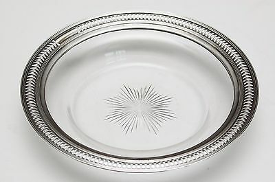 """REDUCED WATSON Sterling Silver Etched Glass Wine Coaster or Lemon Dish 6 1/2"""""""