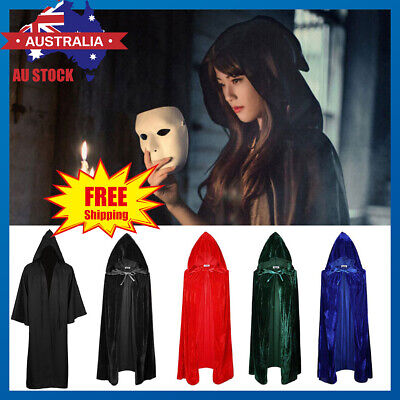 Hooded Cloak Cape Witchcraft Gothic Medieval Vampire Halloween Costume AU Stock