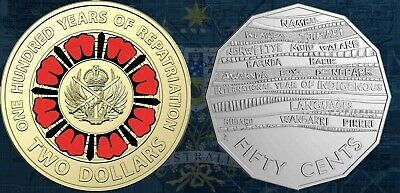 2019 $2-50 cent  100 years of repatriation  RED COLOURED COIN