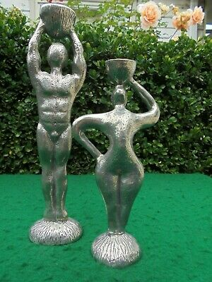 Naked Man And Woman Modernist Figural Candle Holders Candlesticks Signed
