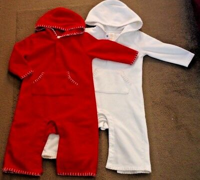 Lot of 2 Old Navy fleece warm unisex overalls - beige and red size 12-18 months