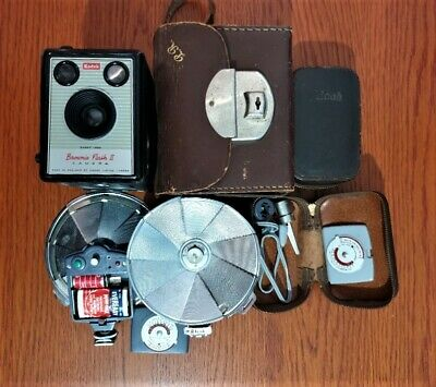Vintage Kodak Brownie Flash II Film Camera, Case and Ricoh Flash Extension X 2