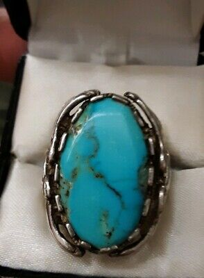 Vintage Old Pawn Navajo  Silver And Turquoise Ring