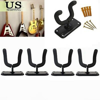 4 Guitar Hanger Stand Holder Hook Wall Mount Rack Acoustic Electric Bass Display