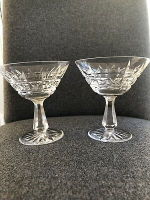 Pair Of Waterford Cut Crystal Kylemore Champagne Sherbet Stemmed Goblets Ireland