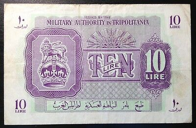 Libya, Military Authority in Tripolitania, 10 Lire, ND (1943), P-M4