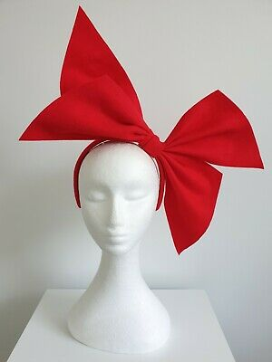 "Miss ""Ruby Red"" oversized felt bow headband fascinator in Red"