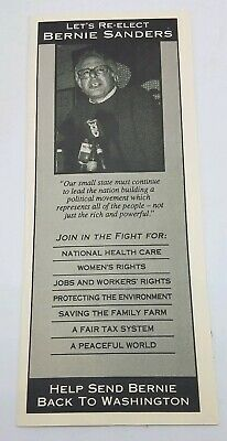 Vintage TriFold Flyer from Bernie Sanders 1st Congress Re-Election Campaign 1992