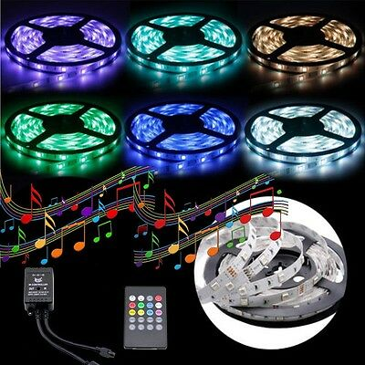 5050 RGB 5M 300 LED SMD 12V Strip Light Waterproof + IR Music Sound Controller