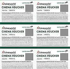 6 Cineworld Cinema Tickets Cine World Ticket Giftcard Gift Card