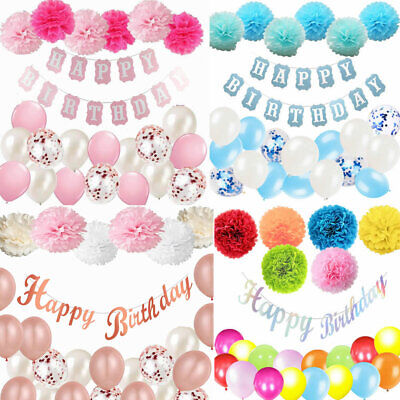 Happy Birthday Banner Bunting Pink Rose Gold Confetti Balloons Party Decorations
