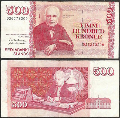 ICELAND - 500 kronur 2001 KM# 58b Europe banknote - Edelweiss Coins .