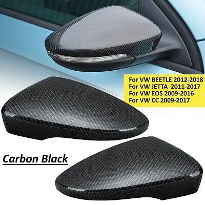 2Pcs Carbon Fiber Door Rearview Mirror Cover For VW Passat Scirocco Beetle JETTA
