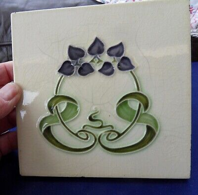 "Original  English  Art Nouveau tile , c1905/6 6""x6""Tile ref 486"