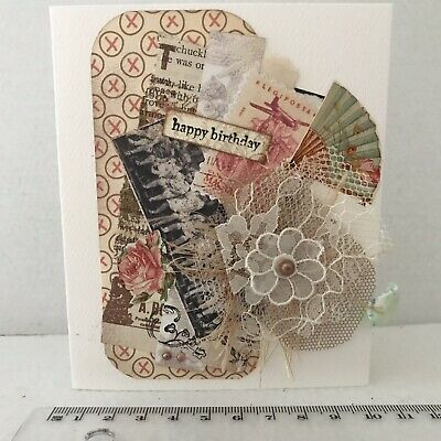 Handmade Birthday Card Shabby Chic Collage Vintage Style Mother Sister Friend