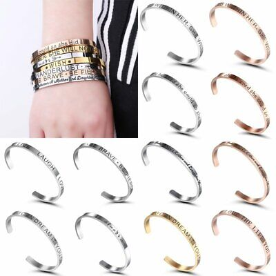 Women Stainless Steel Love&Wish Letter Opening Bracelet Bangle Cuff Jewelry Gift