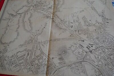 London NW map Hampstead Kentish town Kilburn Cir1863 Dispatch Atlas Framed40more