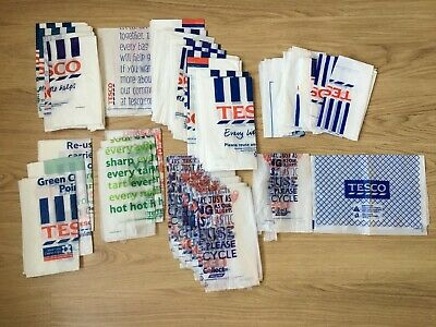 41x TESCO BAGS retro strong plastic reusable white carrier shopping food grocery