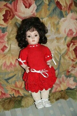 """Wonderful 10"""" Reproduction All-Bisque Bru Jne Antique Doll by Pat Albano c1990's"""