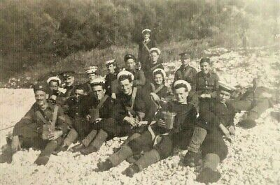 Genuine WWII WW2 Photo Group Army Soldiers & Navy Sailors On Land Drinking