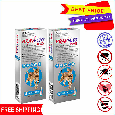 BRAVECTO PLUS Heartworm Flea Control for Cats 2.8 to 6.25 Kg BLUE 2 Pipettes