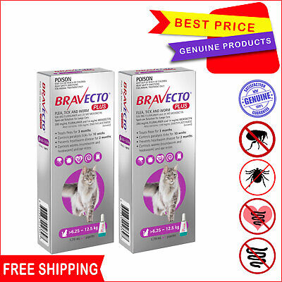 BRAVECTO PLUS Heartworm Flea Control for Cats 6.25 to 12.5 Kg PURPLE 2 Pipettes