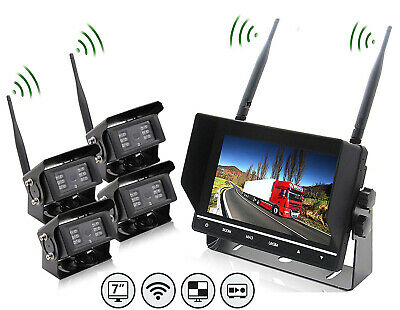 "4x Wireless Car Reverse Camera IR Night Vision & 7 ""TFT  LCD Color Monitor kits"