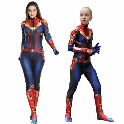 Captain Marvel Cosplay Costume Carol Superhero Adult Jumpsuit Halloween Suits