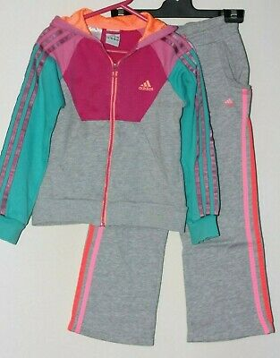 Adidas Size 6 Tracksuit Elastic Waist Straight Legs Pockets Hoody Grey Pink Blue