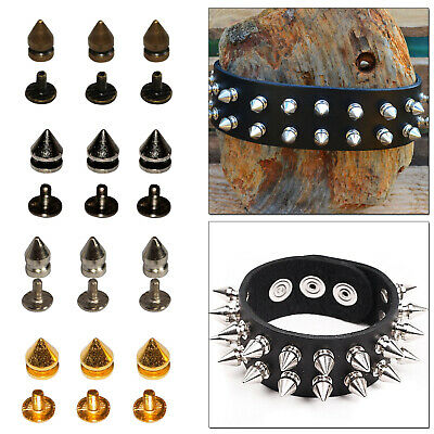 8mm x 11mm Punk Spike Cone Back Studs Rivets Screw Brass 50pcs For Jackets Bags