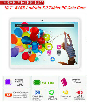 10.1'' 64GB Android 7.0 Tablet PC Octa Core 10 Inch HD WIFI 2 SIM 4G Phablet Q2