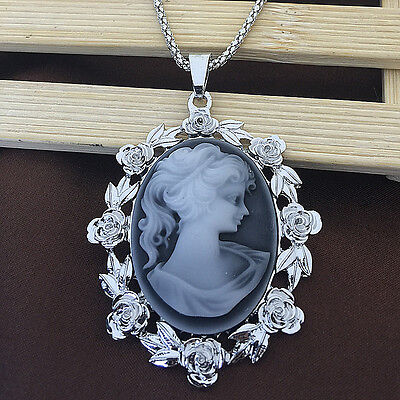 White Gold Plated Grey Cameo Roses Pendant Sweater Chain Necklace