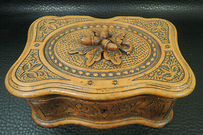 Antique French Trinket Box Black Forest Carved Twig With Acorns Folk Art