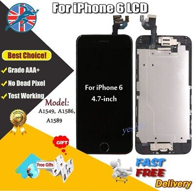 Black Screen For iPhone 6 LCD Touch Digitizer + Home Button Camera Replacement