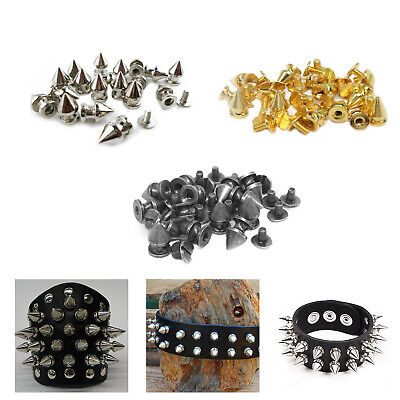 7mm x 9.5mm Screw Back Punk Spike Cone Studs Rivets Brass For Bag Leather Jacket