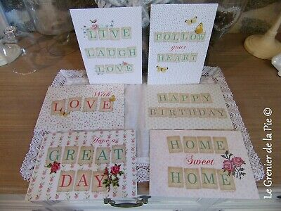 "set 6 cartes postales roses papillons shabby ""love"" ""happy birthday"" 16x11cm"