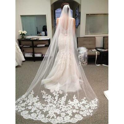 White Appliques Long Lace Edge Bridal Veil with Comb Wedding Accessories LM