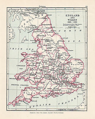 Antique Map Of England and Wales  C1910